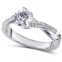 Round Cut Diamond Twisted Band Engagement Ring 14k White Gold (0.33ct)