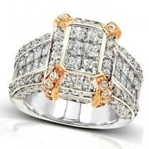 Wide Band Cluster Diamond Engagement 14k Two Tone Gold 3.00ct