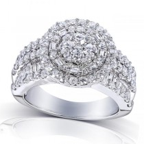 Duo Halo & Round Cluster Diamond Engagement Ring 14K W Gold 2.00ct