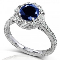 Vintage Sapphire and Diamond Cocktail Ring 14k White Gold 1.48ct