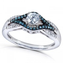 Blue and White Diamond Engagement Ring in 14k White Gold (0.50ct)