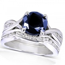 Round Blue Sapphire & Diamond Bridal Set in 14k White Gold (1.70ct)