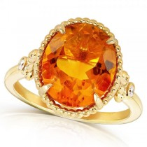 Citrine Gemstone Ring 14k Yellow Gold Over Sterling Silver 4.00ct