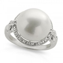 Freshwater Pearl and White Topaz Ring in Sterling Silver 13-14mm