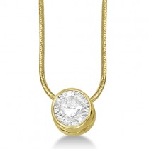 Moissanite Solitaire Pendant Slide Necklace 14K Yellow Gold 0.50ct
