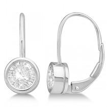 Moissanite Bezel Set Stud Earrings Leverbacks 14K White Gold 1.00ctw