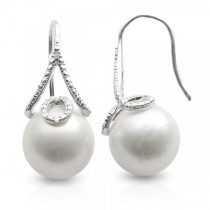 Freshwater Pearl & White Topaz Drops Sterling Silver 13-15mm
