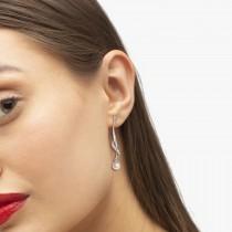 Freshwater Cultured Pearl & Diamond Drop Earrings .07ctw (6.50mm)