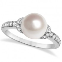 Solitaire Freshwater Cultured Pearl and Diamond Ring 0.16ctw (8mm)
