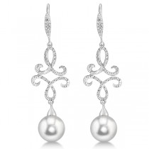 Diamond & Freshwater Pearl Dangle Earrings Sterling Silver 8mm 0.138ct