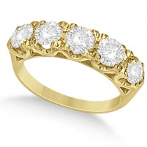Five Stone Moissanite Wedding/Anniversary Band in 14K Y. Gold 1.62ctw