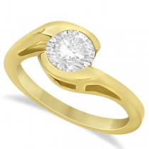 Solitaire Moissanite Bypass Engagement Ring in 14K Yellow Gold 1.00ctw