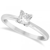 Moissanite Solitaire Engagement Ring Princess 14K White Gold 0.50ct
