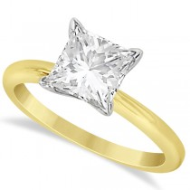 Moissanite Solitaire Engagement Ring Princess Cut 14K Y. Gold 3.00ct