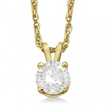Prong Set Moissanite Solitaire Pendant Necklace 14K Yellow Gold 1.00ct