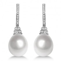 Paspaley South Sea Pearl and Diamond Drop Earrings Palladium 13mm