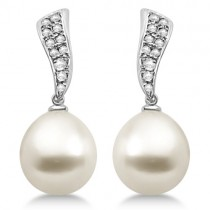 South Sea Cultured Pearl & Diamond Drop Earrings 14K White Gold (11mm)