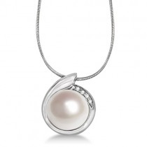 Freshwater Cultured Pearl with Diamond Accents 14K White Gold (12mm)
