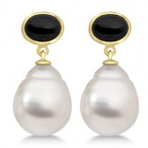 South Sea Cultured White Pearl and Onyx Earrings 14K Yellow Gold 11mm
