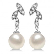 Freshwater Cultured Pearl Earrings Diamond Accents 14K W. Gold (7mm)