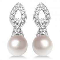 Cultured Freshwater Pearl & Diamond Drop Earrings 14K White Gold (7mm)