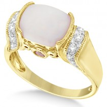 Pink Tourmaline, Diamond and Opal Ring 14k Yellow Gold (2.06ct)