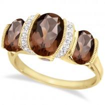 Three Stone Diamond and Smoky Quartz Ring 14kt Yellow Gold (3.20ct)