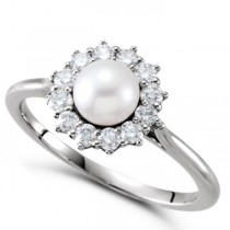 Freshwater Pearl & Diamond Halo Ring 14k White Gold 5.50-6mm 0.33ct