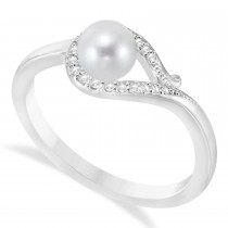 Bypass Freshwater Pearl & Diamond Ring 14k White Gold (5.0-5.5mm)