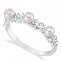 Pearl & Diamond Leaf Pattern Stackable Ring 14k White Gold (3.50 mm)