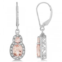 Morganite Drop Earrings Diamond Accented 14k White Gold (2.54ct)
