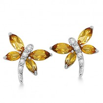 Diamond and Citrine Dragonfly Earrings 14k White Gold (2.88ct)