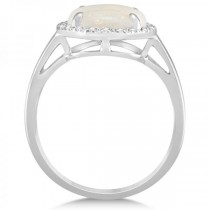 Diamond Accented Halo Opal Engagement Ring in 14k White Gold (2.07ct)