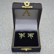 Diamond and Peridot Dragonfly Earrings 14k White Gold (2.44ct)