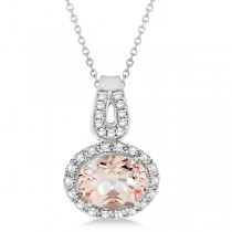 Oval Morganite Pendant Necklace Diamond Halo 14k White Gold (1.41ct)