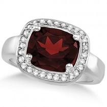 Halo Style Diamond and Garnet Ring 14k White Gold (3.28ct)