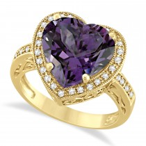 Heart Shaped Amethyst & Diamond Ring Halo 14K Yellow Gold 5.41ct