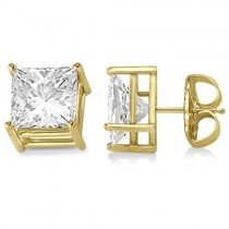 4 Prong Moissanite Square Shape Stud Earrings 14K Yellow Gold 2.50ctw