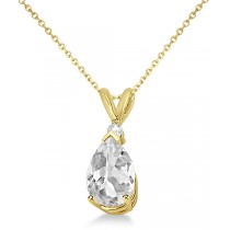 Pear-Cut Faceted Moissanite Pendant Necklace 14K Yellow Gold 2.00ctw