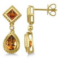Dangling Drop Madeira Citrine Earrings For Women 14k Yellow Gold (1.60ct)