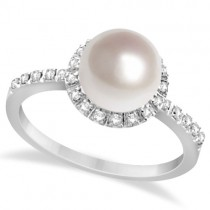 Halo Freshwater Pearl & Diamond Ring 14K White Gold 0.20ctw (8mm)