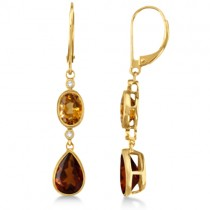 Dangle Diamond and Madeira Citrine Earrings 14k Yellow Gold (5.64ct)