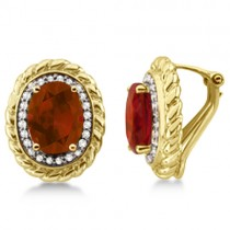 Huggie Diamond & Madeira Citrine Earrings 14k Yellow Gold (3.55ct)