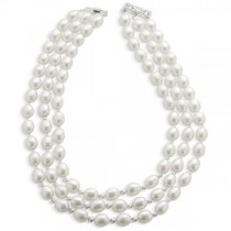 Freshwater Cultured Pearl 3 Strand Necklace Sterling Silver 9.5-10mm