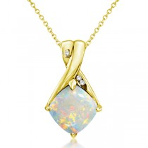 Diamond and Cushion Opal Pendant Necklace 14k Yellow Gold (1.36ct)