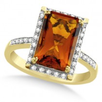 Halo Style Diamond & Madeira Citrine Ring 14k Yellow Gold (3.93ct)