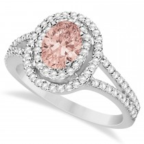 Double Halo Diamond & Morganite Engagement Ring 14K White Gold 1.34ctw
