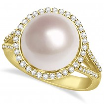 South Sea Cultured Pearl and Diamond Halo Ring 14k Yellow Gold (11mm)
