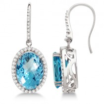 Dangle Diamond and Swiss Blue Topaz Earrings 14k White Gold (13.88ctw)