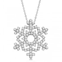 Ladies Diamond Snowflake Pendant & Chain 14k White Gold 0.38ct